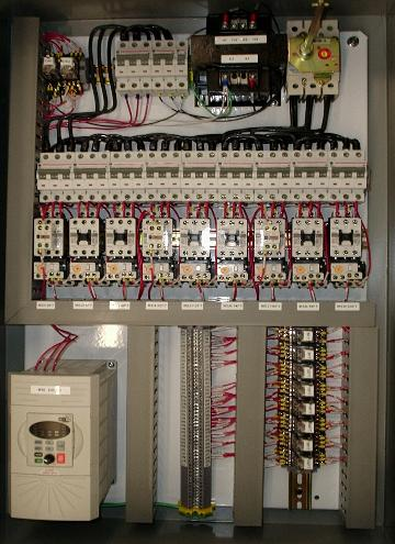 Motor control and power distribution panel (9) 7.5HP motors + (1) 5HP variable speed drive